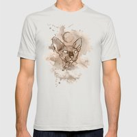 Watercolor Sphynx (Sepia/Coffee stain) Mens Fitted Tee Silver SMALL