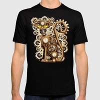 Steampunk Cat Vintage St… Mens Fitted Tee Black SMALL