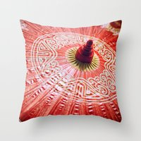 Red Silk Chinese umbrella Throw Pillow