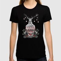 CHRISTMAS DEER (by Nika … Womens Fitted Tee Black SMALL