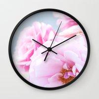 Blushing Roses Wall Clock