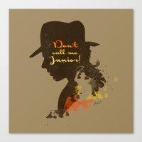 Don't call me Junior! – Indiana Jones Silhouette Quote Canvas Print