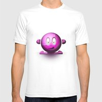 Emoticon Magenta Mens Fitted Tee White SMALL