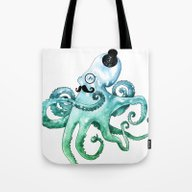 Monocle Octopus Tote Bag