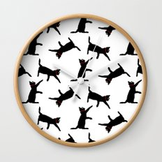 Cats-Black on White Wall Clock