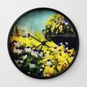 Behind the flowers Wall Clock