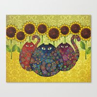 Cats & Sunflowers Canvas Print