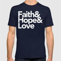 Faith & Hope &  Love Helvetica Mens Fitted Tee Navy SMALL