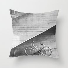 Bike and lines Throw Pillow