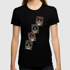 Playing cards queens quartett Womens Fitted Tee Black SMALL