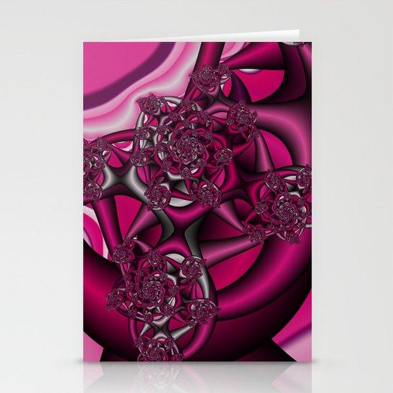 Pink fractal Stationery Card