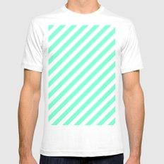 Diagonal Stripes (Aquamarine/White) Mens Fitted Tee White SMALL