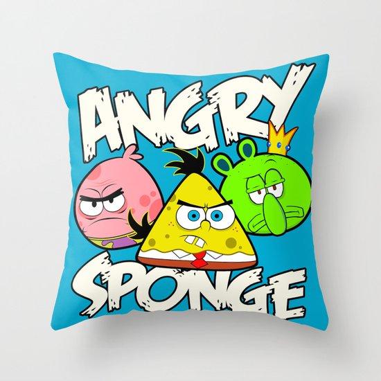 Angry Spongebird - Angry Birds vs SpongeBob Throw Pillow