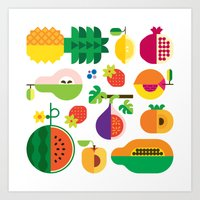 Fruit Medley White Art Print