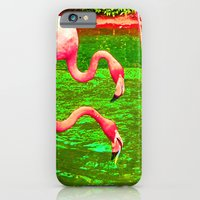 iPhone & iPod Case featuring Flaming Flamingo by The Digital Weaver