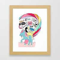 What is the world is made of rainbows, cotton candy and unicorns? Framed Art Print