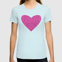 Pink Love Womens Fitted Tee Light Blue SMALL
