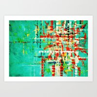 on my street -turquoise abstract Art Print