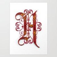 H - monogram  Art Print
