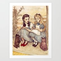 girls Art Prints featuring Dorothy and Alice by Helen Green