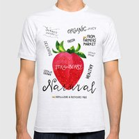 Watercolor strawberry Mens Fitted Tee Ash Grey SMALL