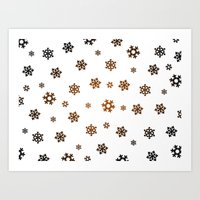 Snowflakes (Bronze And B… Art Print