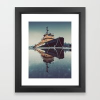 Reflecting Tugboat Framed Art Print