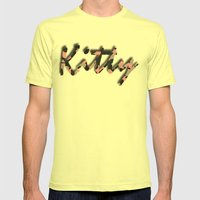 Pink Kitty Camo Mens Fitted Tee Lemon SMALL