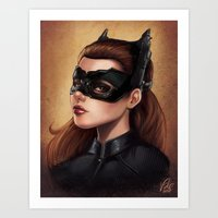 Cute Catwoman Painting  Art Print