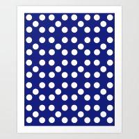 Dots - Blue / White Art Print