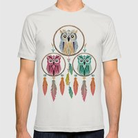 dream owl Mens Fitted Tee Silver SMALL