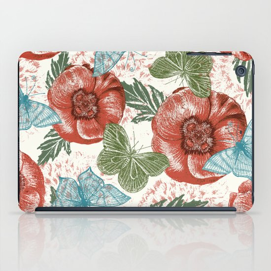 Poppies and Butterflies Pattern iPad Case