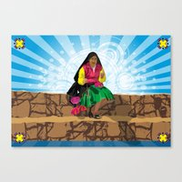Paisana In Titicaca Lake… Canvas Print