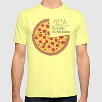 Pizza Pie Chart Mens Fitted Tee Lemon SMALL