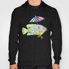 Fishy Fish - Original Watercolor of Yellow Mask Angel Fish with Umbrella Hoody