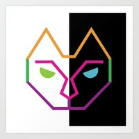 Abstract Multicolored Cat Art Print
