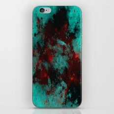 Ruby Galaxy - Abstract cyan, red and black space themed painting iPhone & iPod Skin
