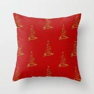 Gold Christmas Trees Throw Pillow