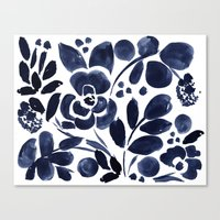 Navy Floral Canvas Print