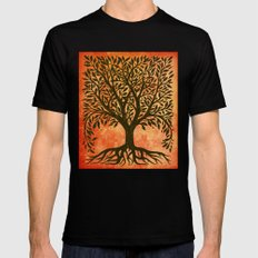 Tree Of Life Warm Tones Mens Fitted Tee Black SMALL
