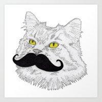 Meowstache Art Print