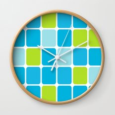 blue and green squares  Wall Clock