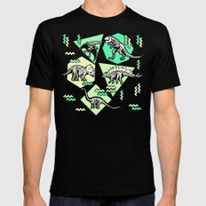 90's Dinosaur Skeleton Neon Pattern SMALL Mens Fitted Tee Black