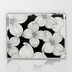 Dogwood Floral Linear: Ivory on Black  Laptop & iPad Skin