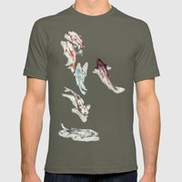 Koi Fish Watercolour Mens Fitted Tee Lieutenant SMALL