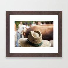 Hat & Cow Framed Art Print