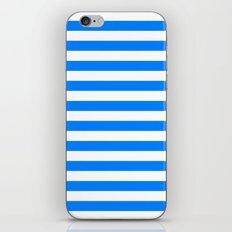 Horizontal Stripes (Azure/White) iPhone & iPod Skin