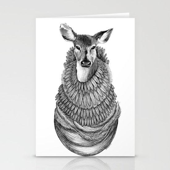 Feathered Deer.  Stationery Card