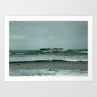 Leistering  Cargo Ship & Surfers Art Print