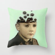 Fur Brains - Hand Painted Vintage Photography Throw Pillow
